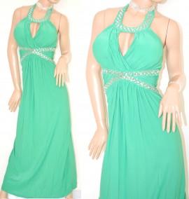 ABITO LUNGO vestito donna VERDE cristalli strass elegante cerimonia abito  da sera party E15 97a49c1c730