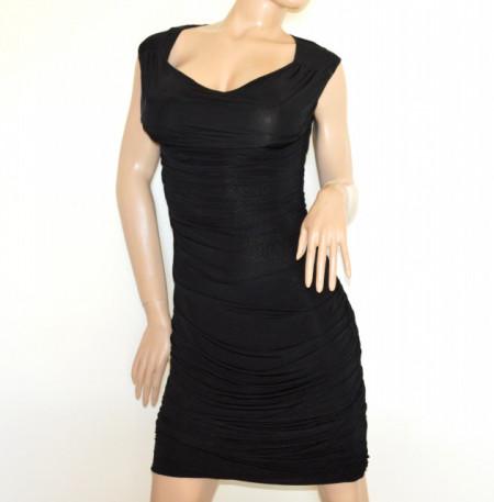 ABITO NERO donna vestito tubino giromanica smanicato aderente elegante dress A63