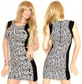 watch 9ad30 c4179 ABITO TUBINO donna nero bianco miniabito mini dress vestito corto da sera  sexy zip oro vestido mujer 74