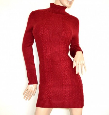 ABITO vestito a maglia rosso donna maglione collo alto manica lunga maxipull G76