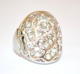 ANELLO ARGENTO donna BRILLANTINI strass fedina BIANCHI CRISTALLI ring inel anneau 160