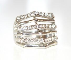 ANELLO donna fedina ARGENTO cerimonia con strass\brillantini\cristalli ring anillo 33
