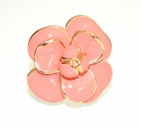 ANELLO ROSA CORALLO ORO donna dorato fiore smaltato fedina floreale elegante ring N75