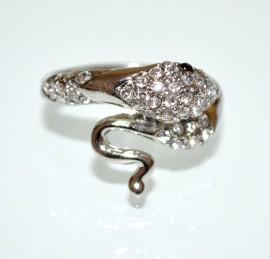 ANELLO SERPENTE argento strass donna fedina sexy ondulata idea regalo ring A29