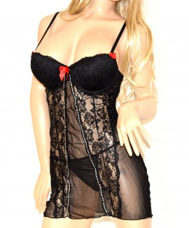 BABY DOLL donna intimo NERO STRASS sexy LINGERIE tulle pizzo SLIP completino notte reggiseno tanga babydoll 15