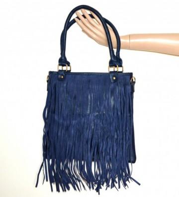 BORSA BLU donna bauletto eco pelle frange scamosciate tracolla bag sac bolsa G89