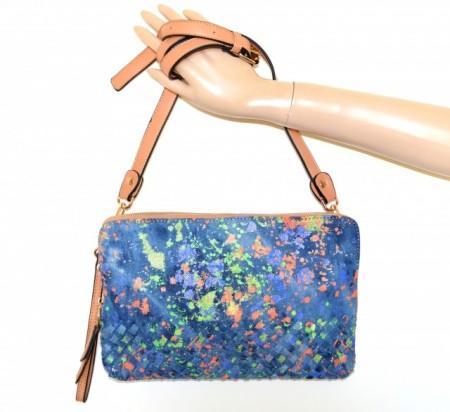 BORSELLO JEANS BLU donna borsa eco pelle beige cuoio verde arancio pochette tracolla G99