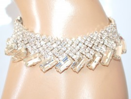 BRACCIALE ARGENTO cristalli donna strass sposa elegante cerimonia bracelet E180