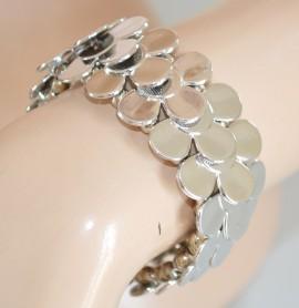 BRACCIALE ARGENTO donna elegante rigido elastico lucido a molla bracelet браслет Z1