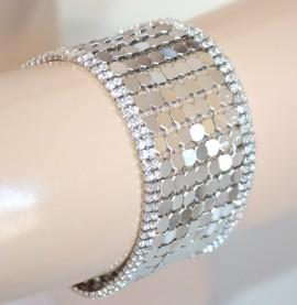BRACCIALE ARGENTO donna elegante strass cristalli da cerimonia party pulsera E08