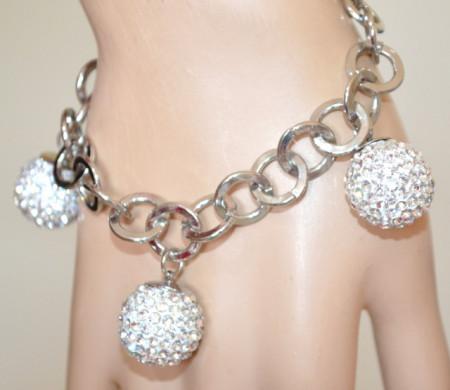 BRACCIALE CIONDOLI argento donna charms sfere strass catena anelli bracelet V8