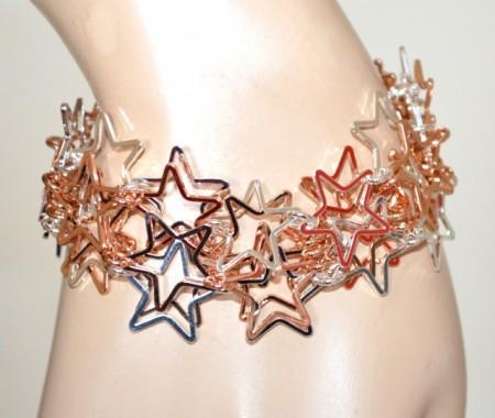 BRACCIALE donna ciondoli stelle oro rosa argento platino elegante bracelet GP30