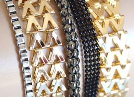 BRACCIALE donna maglia multi catena oro argento nero grigio polsiera armband B16