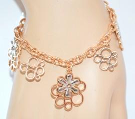 BRACCIALE donna ORO ARGENTO fiori ciondoli catena anelli idea regalo bracelet E40