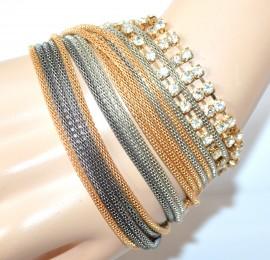 BRACCIALE donna oro argento grigio dorato fili strass cristalli elegante cerimonia F315