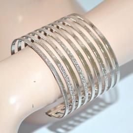 BRACCIALE donna rigido argento multi fili satinato a schiava elegante 89