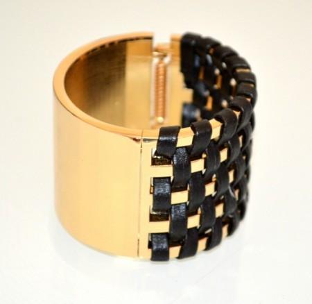 BRACCIALE RIGIDO donna ORO NERO a schiava dorato ecopelle sexy bracelet BB50