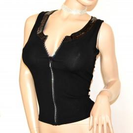 CANOTTA donna NERA maglietta top sottogiacca giromanica cotone strass frange A34