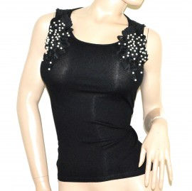 CANOTTA NERA donna top maglietta pizzo ricamo perle cotone elastico elegante G16