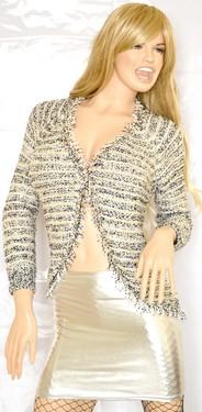CARDIGAN maglioncino donna maglione manica lunga maglietta pullover scollo a V bianco-blu con frange M05