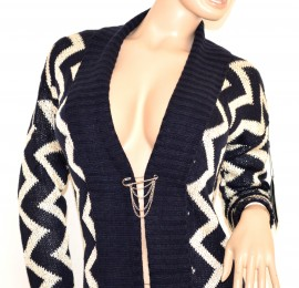 Cardigan maglione aperto donna BLU BIANCO maglioncino fantasia a maniche lunghe lana 140