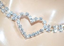 CINTURA ARGENTO strass cuori cristalli donna brillantini gioiello sposa belt F85