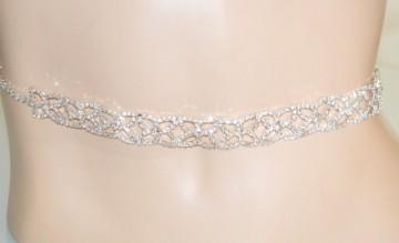 CINTURA GIOIELLO donna argento gocce strass cristalli metallo cerimonia BB21