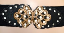 CINTURA NERA PELLE donna ORO elegante stringivita CRISTALLI da cerimonia dorata пояса 680