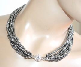 COLLANA ARGENTO GRIGIO donna 3 in 1 lunga girocollo strass fili perline cristalli A86