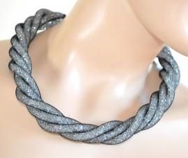 COLLANA donna ARGENTO elegante GIROCOLLO da cerimonia cristalli tubolare necklace collar 745