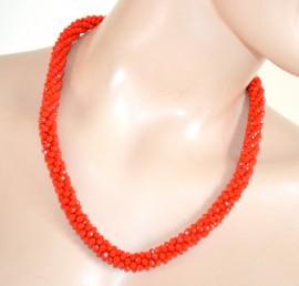 COLLANA donna CRISTALLI ROSSO CORALLO elegante girocollo collier necklace L10