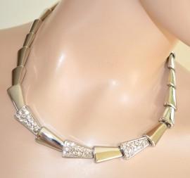 COLLANA GIROCOLLO donna ARGENTO strass elegante CERIMONIA cristalli acciaio 255