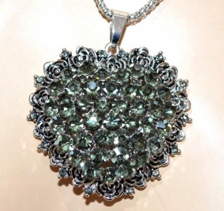 COLLANA lunga ciondolo cuore donna argento etnica strass verdi catenina BB18