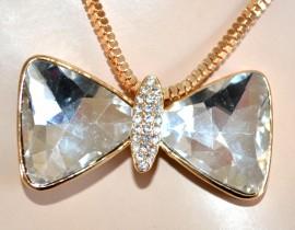 Collana lunga donna dorata GIROCOLLO elegante oro ciondolo fiocco cristallo collier 860