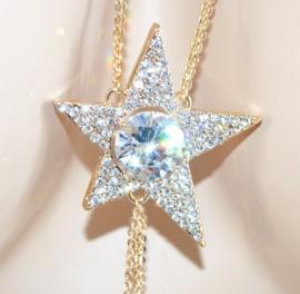 COLLANA LUNGA donna dorata ORO ciondolo stella elegante strass cristalli fili pendenti E08