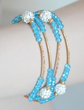 COLLANA LUNGA donna oro dorata cristalli azzurri celesti strass girocollo collier A58