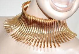 COLLANA ORO donna collarino dorato rigido girocollo collier elegante cerimonia G15