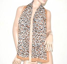 FOULARD donna seta velato stola coprispalle x abito\vestito bufanda mujer leopardato  marrone chiaro 55