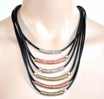 GIROCOLLO COLLANA NERA multi fili donna argento oro rosa dorata collier 725