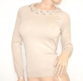 MAGLIETTA BEIGE PANNA donna manica lunga strass chiodini maglia girocollo maglione sottogiacca Z15