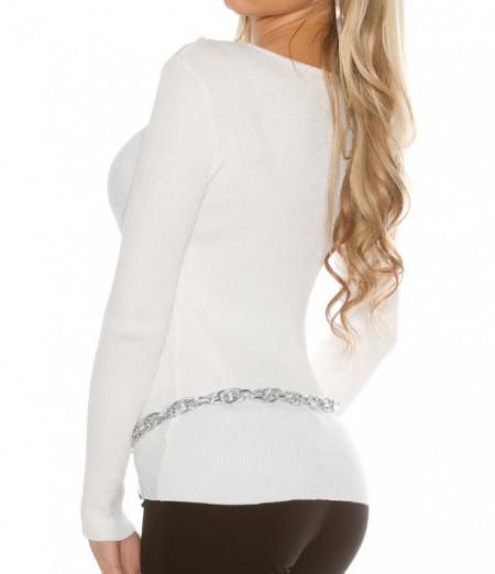 MAGLIETTA BIANCA donna maglia velata manica lunga frangia maglione sottogiacca AZ6