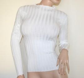 MAGLIETTA BIANCA donna maglione maglioncino manica lunga maglia ricamata sottogiacca A23