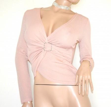 MAGLIETTA donna ROSA maglia incrociata maniche lunghe sottogiacca lurex fibbia G99