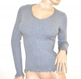 MAGLIETTA GRIGIA maglia manica lunga donna maglione sottogiacca scollo a V costine A25