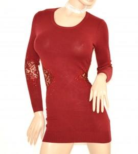 MAGLIONE ROSSO donna MAXI PULL maglietta lunga elegante PIZZO manica lunga ricamata STRASS sexy zip Z3
