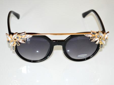 OCCHIALI da SOLE donna NERI ORO lenti ovali cristalli strass grigio trasparenti sunglasses B3