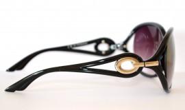 OCCHIALI da SOLE NERI donna lenti sfumate ovali cerchi argento 35
