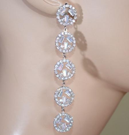 ORECCHINI ARGENTO donna cerchi strass pendenti lunghi sposa cristalli brillantini eleganti D8