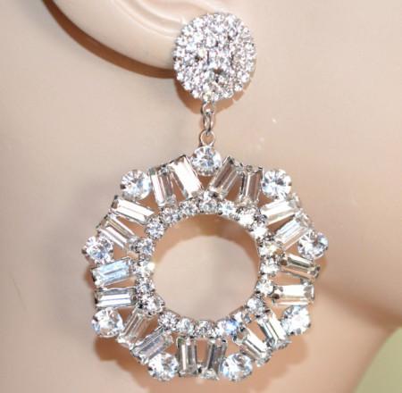 ORECCHINI ARGENTO donna cristalli trasparenti cerchi pendenti strass eleganti S50