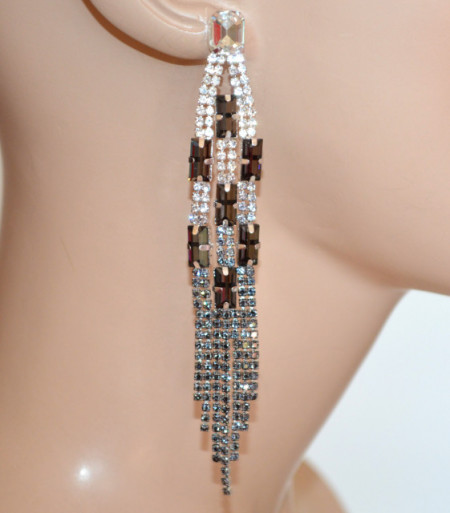 ORECCHINI ARGENTO GRIGIO NERI donna fili pendenti strass cristalli multifili cerimonia N22